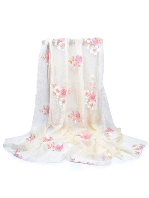 shops Fresh Floral Decorative Spring Fall Scarf - BEIGE  Mobile