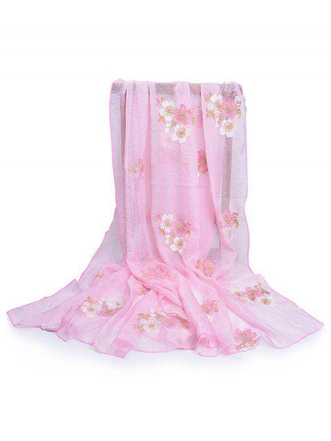 latest Fresh Floral Decorative Spring Fall Scarf - PIG PINK  Mobile