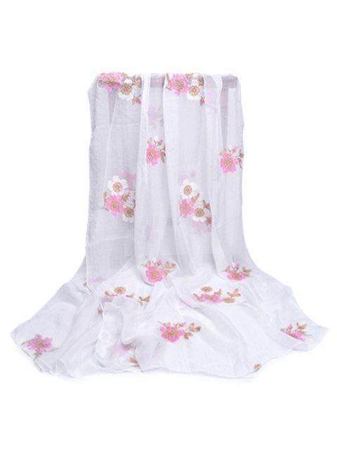 Écharpe d'Automne et de Printemps Décorée de Fraîches Fleurs - Blanc  Mobile