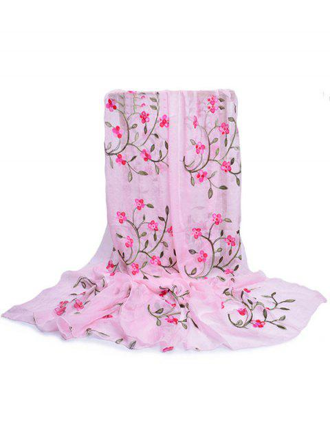 affordable Flower Embroidery Silky Long Scarf - PIG PINK  Mobile