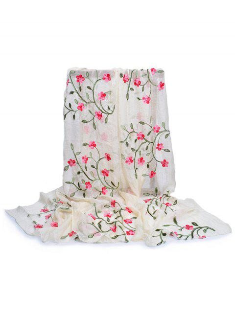 ladies Flower Embroidery Silky Long Scarf - BEIGE  Mobile