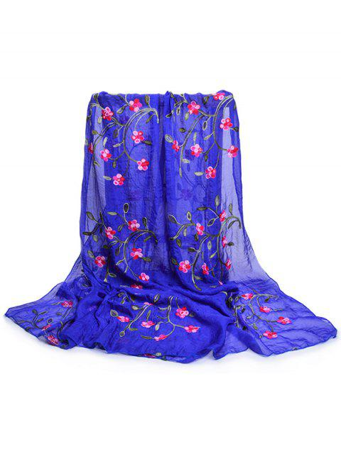 online Flower Embroidery Silky Long Scarf - ROYAL BLUE  Mobile