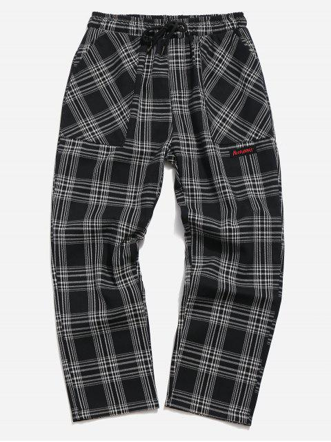 online Drawstring Plaid Nine Minutes of Pants - BLACK S Mobile