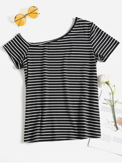 Camiseta Stripes One Shoulder - Negro S Mobile