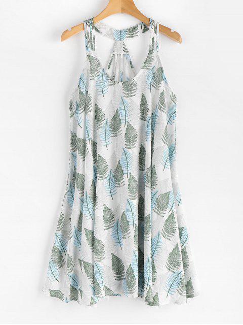 Blatt Druck Ärmelloses Kleid - Weiß M Mobile