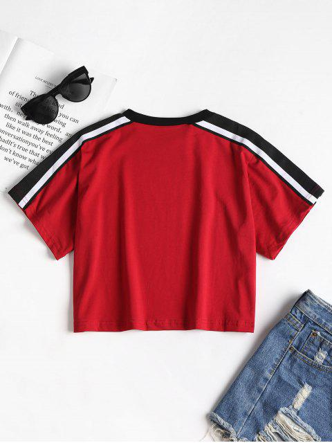 fancy Striped Tape Sleeve Graphic Cropped Tee - RED WINE ONE SIZE Mobile