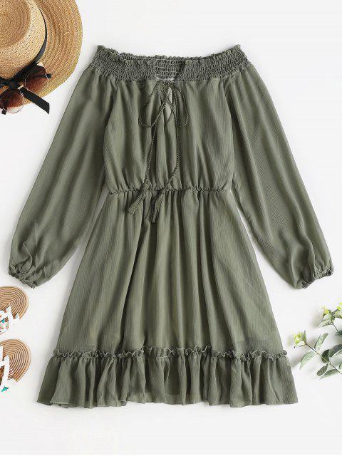 affordable Long Sleeve Off The Shoulder Dress - CAMOUFLAGE GREEN L Mobile