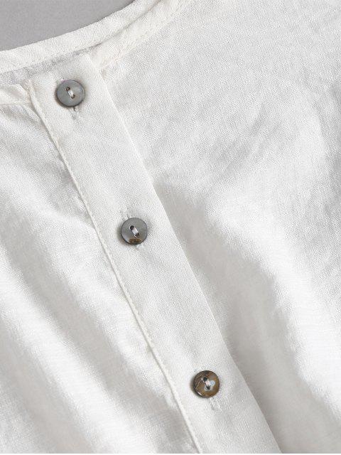 Set Top Corto Sin MangasconBotones y Shorts - Blanco M Mobile