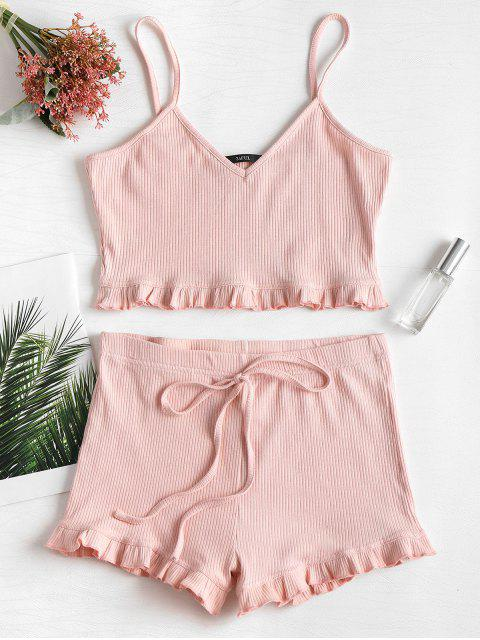 best Knit Frill Trims Cami Shorts Set - LIGHT PINK XL Mobile