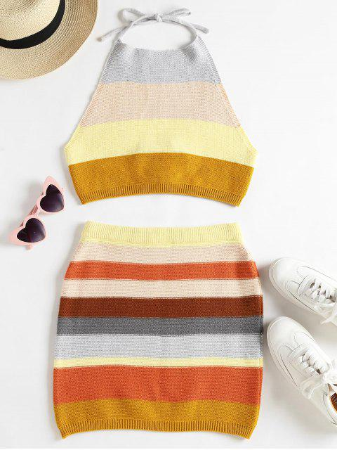outfits Knitted Striped Top and Skirt Set - MULTI S Mobile