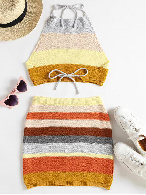 best Knitted Striped Top and Skirt Set - MULTI M Mobile