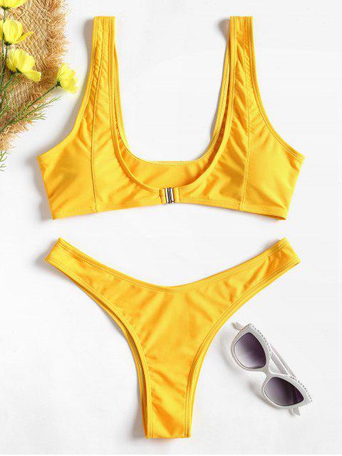 chic Front Closure High Leg Bikini - RUBBER DUCKY YELLOW S Mobile