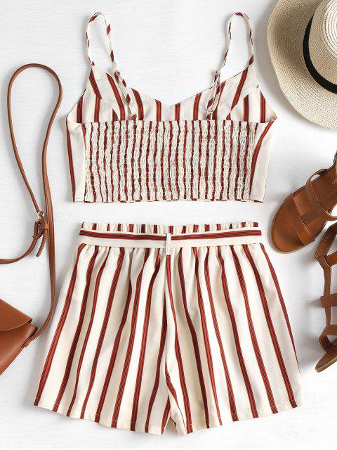 womens Striped Cami Belted Shorts Set - CORNSILK M Mobile