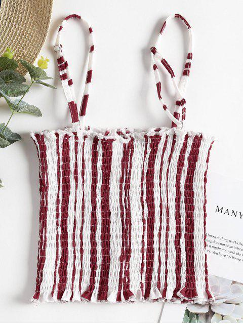 online Stripes Smocked Tank Top - CHERRY RED L Mobile