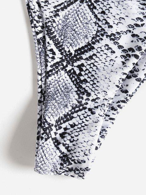 latest ZAFUL Halter Snakeskin Leopard High Leg Bikini - WHITE S Mobile