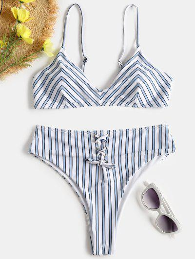 Striped Lace-Up High Waisted Bikini Set - Blue Gray S