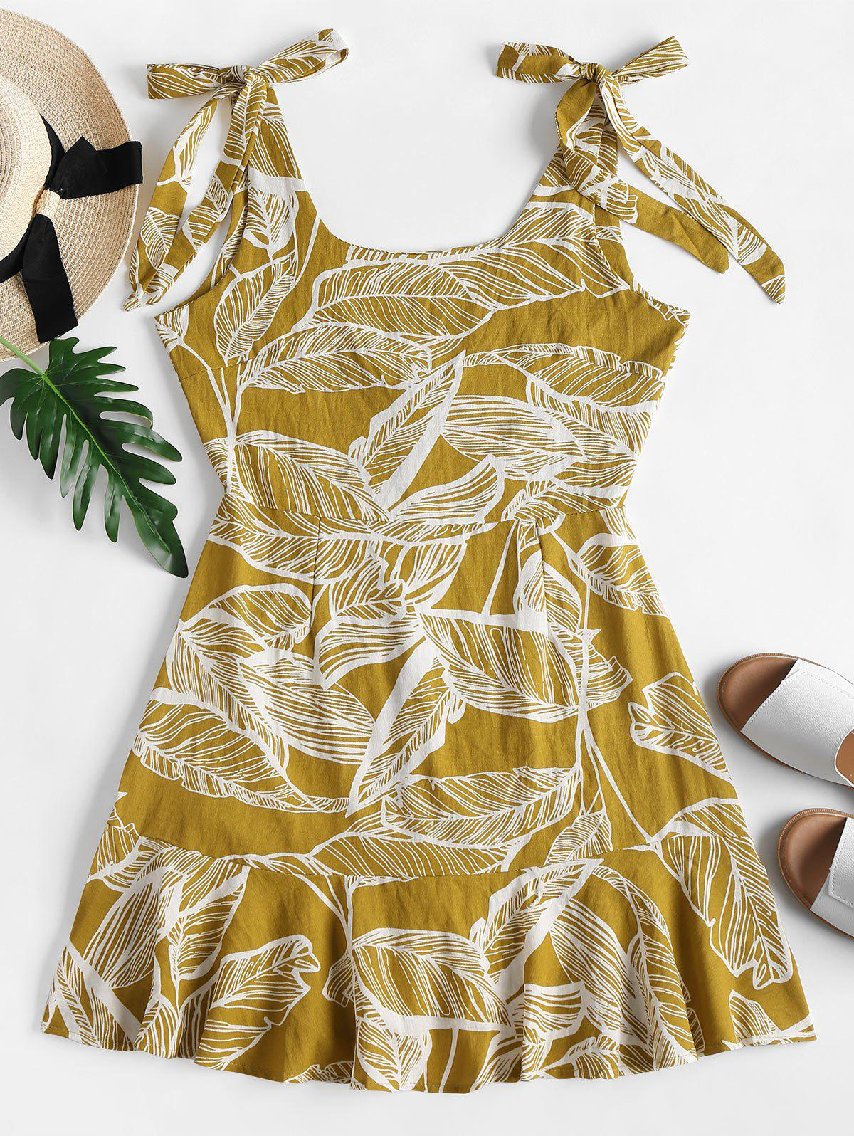 Tie Shoulder Palm Print Ruffle Mini Dress