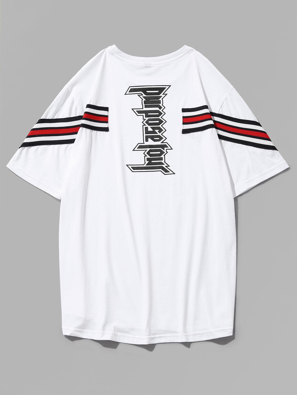 Letter Print Stripe Patch T-shirt