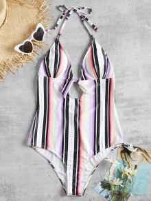 قطعة واحدة شريطية عارية الذراعين ملابس السباحة - متعدد M
