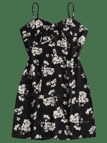 Cami Floral Bunny Estampado Negro M Tie Minivestido Con 6qzFXwA