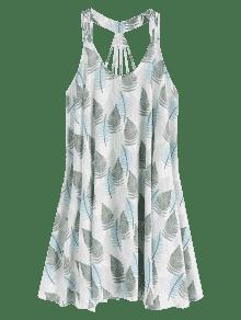 Hojas Sin Mangas S Estampado Con Vestido De Blanco qOXWRwRdn