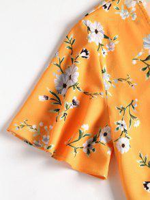 Amarilla Pantalones Anudados S Con De Lazo Floral Abeja De Conjunto 5qB4wWxY4