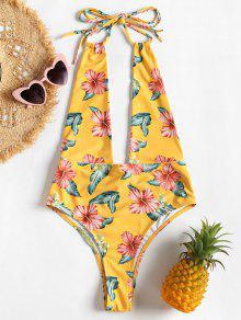ارتفاع الساق يغرق الأزهار ملابس السباحة - قضبان ذهبية L