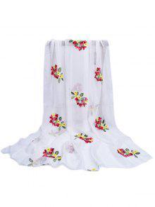 نمط الأزهار مزين حريري وشاح طويل - أبيض