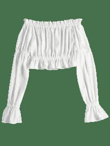 Descubiertos Y Blusa Con S Blanco Hombros Volantes qBS74wH