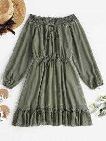 كم طويل قبالة فستان الكتف - التمويه الأخضر L