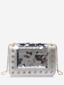 سلسلة معدنية حجر الراين الترتر مزينة حقيبة كروسبودي - فضة