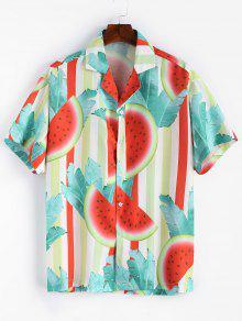 قميص بطبعات البطيخ - ضوء البحر الاخضر 2xl