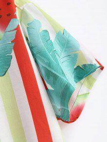Cuello Camisa De Muesca L 237;a Estampado Verde Ligero Sand Con Mar De pqxwTq7