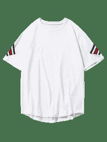 Blanco Rayas Con Parche Camiseta Xl Estampado Y De SO1wwUvq