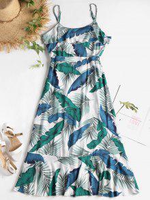 Palma Multicolor De Estampado A Con Hojas Vestido De Media S Pierna w8qnZ4