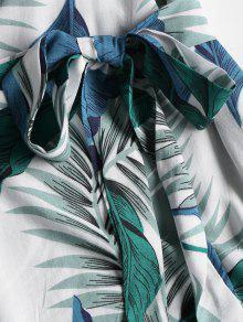De A Con De Estampado S Multicolor Pierna Hojas Media Vestido Palma Cawq0q
