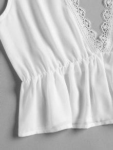 Camiseta Con Abotonado Blanco Cuello Mangas Sin S HawqUHr