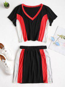 Piezas De Block Shirt Color Conjunto Skirt T Dos Multicolor S 0nqxdSX
