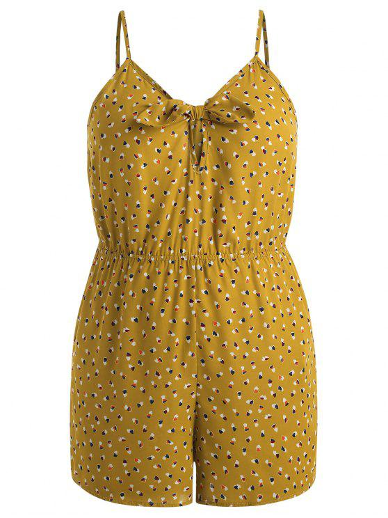 unique Plus Size Hearts Knotted Romper - SCHOOL BUS YELLOW 1X