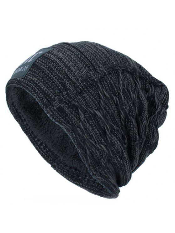 shop Thicken Double-Deck Knit Hat with Letters Label - DEEP GRAY