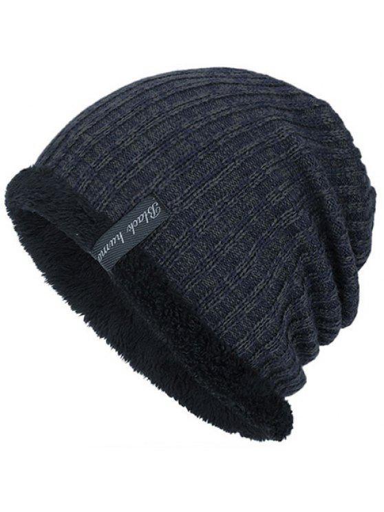 قبعة شتوية دافئة مبطنة بالمخمل - الزرقاء الحجر