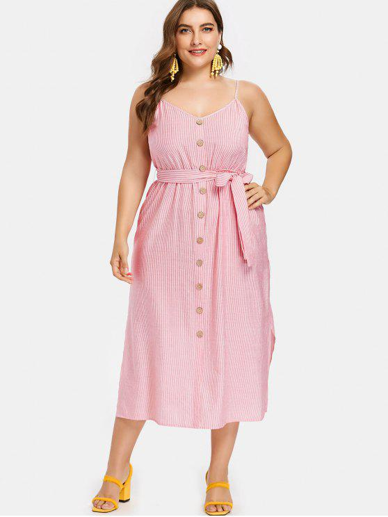lady Pinstriped Plus Size Belted Slip Dress - RUBY RED 4X
