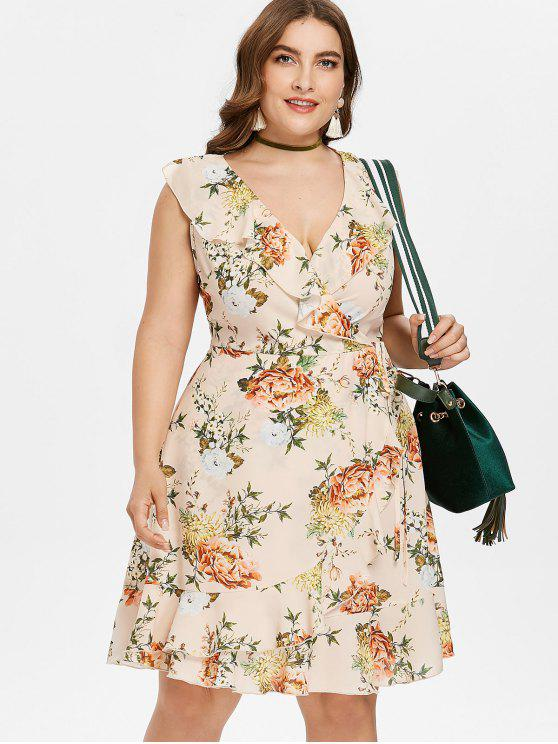 unique Plus Size Floral Surplice Ruffle Dress - APRICOT L