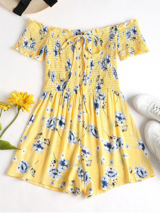 Lace Up Smocked Floral Romper - Amarillo M
