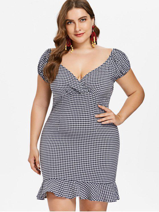 lady Plus Size Flounce Gingham Dress - DEEP BLUE 1X