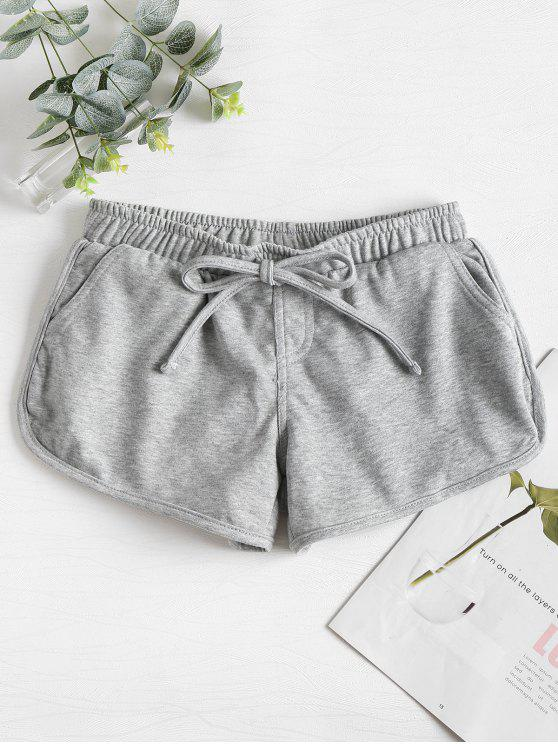 trendy Knotted Waist Gym Shorts - LIGHT GRAY M
