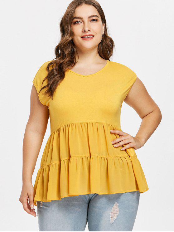 Plus Size Uma Linha Flounce Tee - Amarelo Brilhante 1X