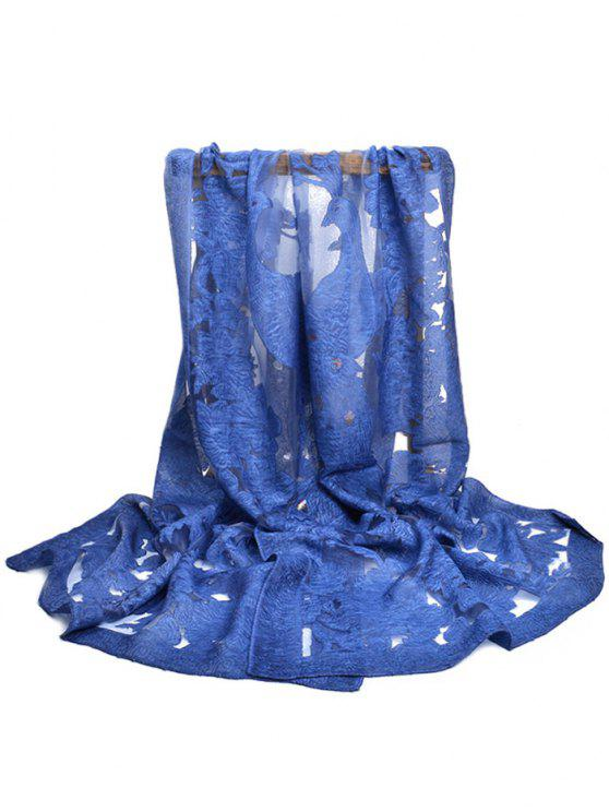 Flourishing Flower Decorative Long Scarf - Cadetblue