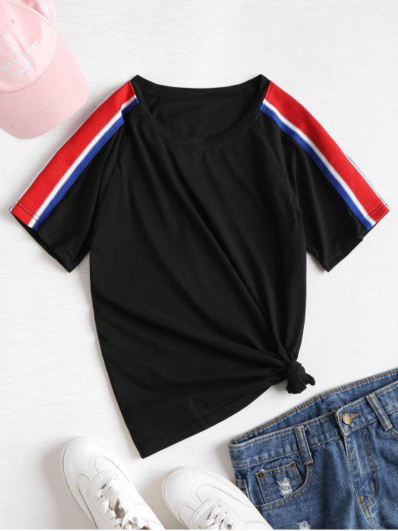 Raglan-Hülsen-gestreiftes Band-T-Shirt - Schwarz L