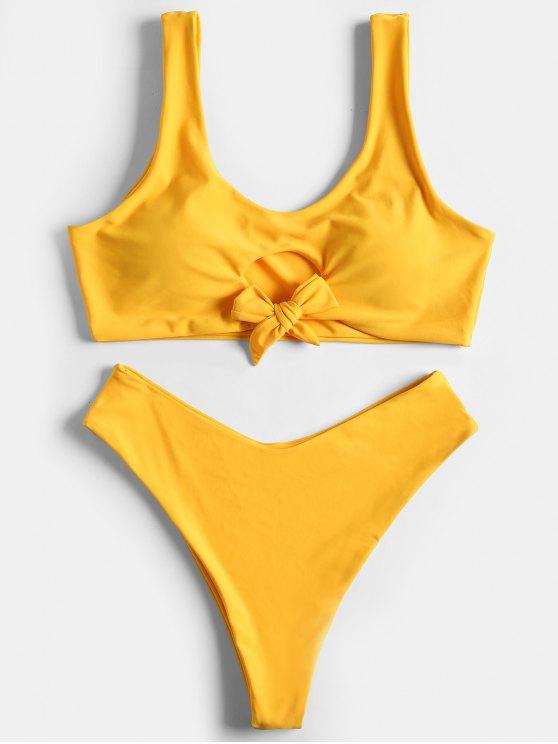 Hohe Taille Schleife Hohes Bein Bikini - Gelb XL